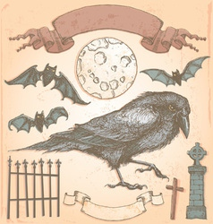 Hand drawn vintage halloween crow set vector