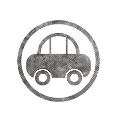 Car icon with pixel print halftone dots texture vector