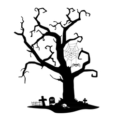 Spooky silhouette of tree vector