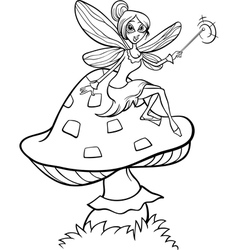 Elf fairy fantasy cartoon coloring page vector