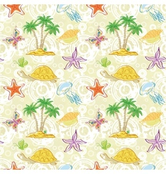 Seamless pattern palm trees and sea animals vector