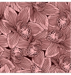Pink and brown orchid flower seamless pattern vector