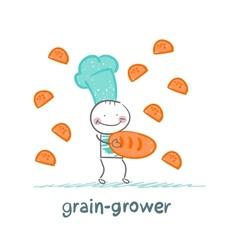 Grain grower gives bread a girl vector