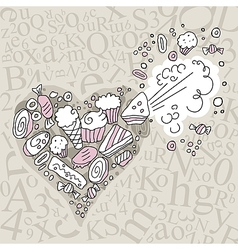 Exploding sweets heart vector