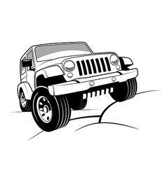 Monochrome detailed cartoon off-road jeep vector