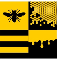 Bee honeycells and honey patterns set vector