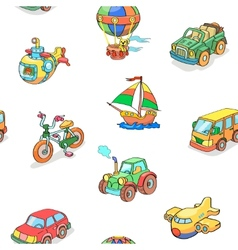 Cartoon collection of transportation seamless vector