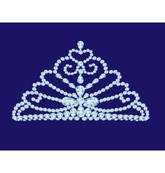 Feminine wedding diadem crown on blue vector