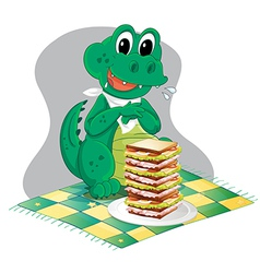 A hungry crocodile in front of a big pile of vector