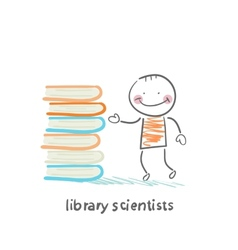 Library of scientists standing near books vector
