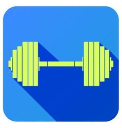 Sport icon with gym dumbbell in flat style vector