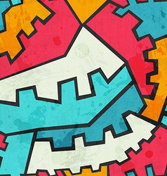 Colored gear seamless pattern with grunge effect vector