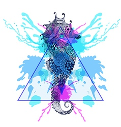 Zentangle stylized sea horse in triangle frame vector