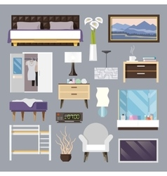 Bedroom furniture flat icons set vector