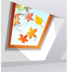 Autumnal wet window vector