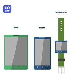 Flat pc tablet smartphone and smartwatch vector