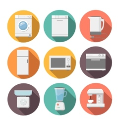 Set of household appliances flat icons on colorful vector