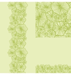 Set of green underwater plants seamless pattern vector