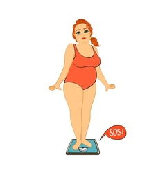 Woman on weight scales unhappy vector