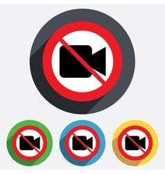 Do not record video camera sign icon vector
