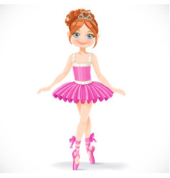 Cute brunette ballerina girl in pink dress vector
