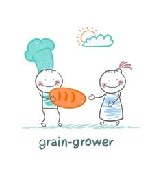 Grain grower keeps the bread of flour vector