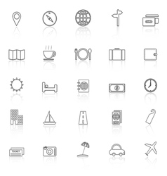 Travel line icons with reflect on white background vector