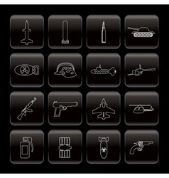 Line weapon and war icons vector