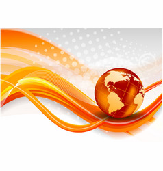 Abstract orange background with globe vector