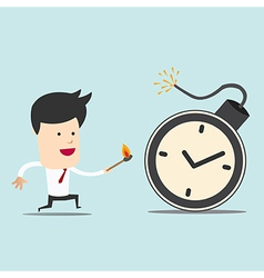 Business man and spark time bomb vector