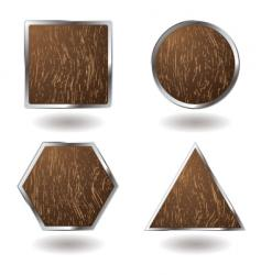 Wood button variation vector