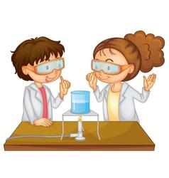 Scientists executing experiment vector