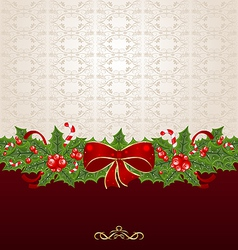 Beautiful christmas background with mistletoe bow vector