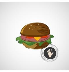 Sketch juicy and tasty burger icon vector
