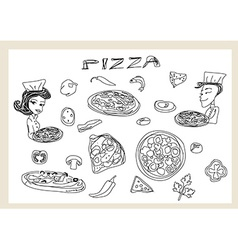 Pizza and vegetables doodle set vector