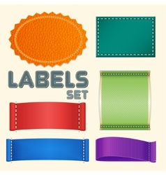 Collection of five colorful blank labels or badges vector