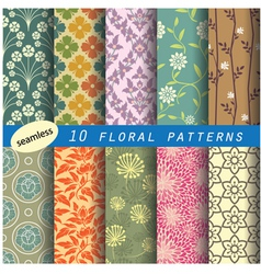 Floral seamless pattern unit collection 1 vector