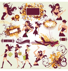 Fashion model illustration elements vector