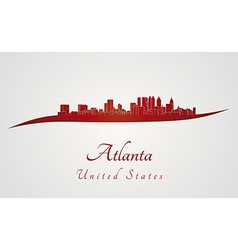 Atlanta skyline in red vector