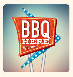 Retro neon sign bbq vector