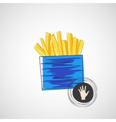 Sketch of cardboard with french fries vector