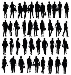 People walking silhouette black vector