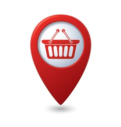 Basket icon red map pointer vector