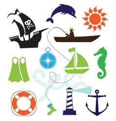 Set of sea icons vector
