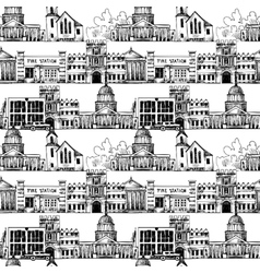 Seamless background with government buildings vector