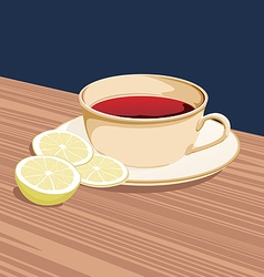 Cup of tea and slices of lemon is on the saucer vector