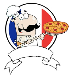 Male chef holding up a pizza over a blank banner vector