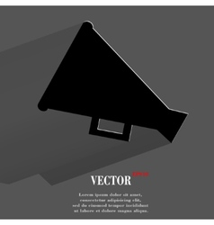 Megaphone loud-hailer flat modern web button with vector