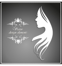 Silhouette of a girl with long hair and beautiful vector