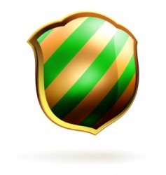 Shields in black and green hazard stripes eps 8 vector